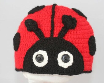 Hat Ladybug size36 18 month handmade