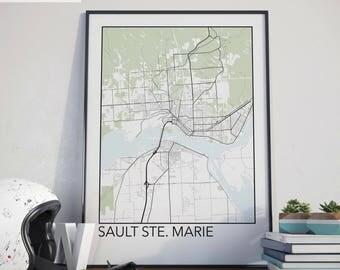 Sault Ste. Marie, Ontario Minimalist City Map Print