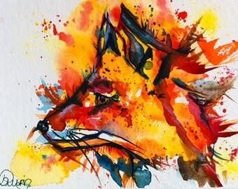 Fox Watercolor Print, Watercolor Fox Painting, Print of Fox, Fox Painting, Fox Illustration, Fox Art, Nursery Art, Woodland Art, Wall Art