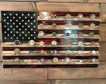 Challenge Coin Holder Old Glory   American Flag   Military Veteran Made    Wood Flag   Part 98