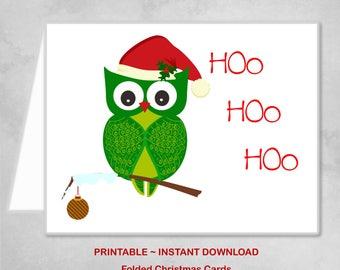 Printable Green Owl Christmas Card Hoo Hoo Hoo Family Boy Girl Christmas Card - DIY Instant Download Christmas Card