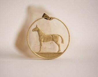 Ireland Cut Coin Necklace. Irish Coin, 20 Pingin, 1985-2000. Handmade, Horse