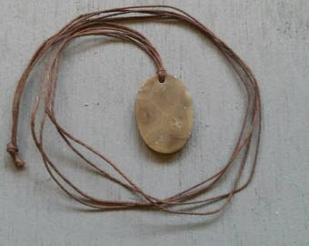 Hand Made Petoskey Stone Pendant on Hemp Cord