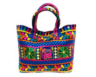 Indian Cotton Banjara Embroidery Handbag in Multicolor