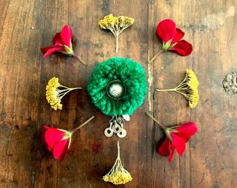 Handmade Brooch - Dangling Afghani Button Green small Afghani ethnic bohemian