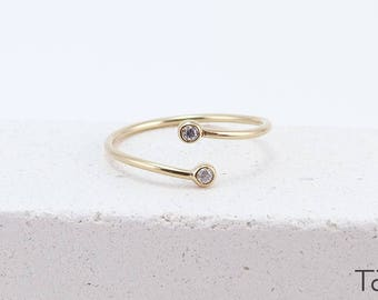 Double Diamond Ring, Gold Diamond Ring, 14k Solid Gold, Two Stones Gold Ring, Anniversary Gift, Minimal Jewelry, Diamond Jewelry