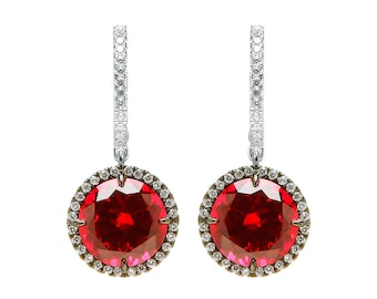 Sparkling Ruby Round Earrings