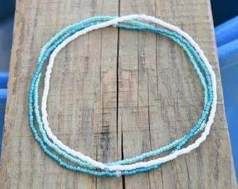 3 ultra dainty beaded bracelets friendship bracelets womans anklets beach anklets slim bracelets turquoise bracelets wish bracelets