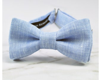 Blue linen bow tie, blue bow tie for boys, mens blue bow tie, light blue bow ties, baby boy bow tie, baby blue bow tie, kids blue bow ties