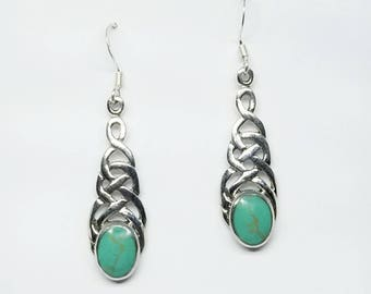 Turquoise Earrings~Silver Celtic Turquoise Earrings~Natural Turquoise Celtic Knot Earrings~Turquoise Stone Jewelry~December Birthstone Gift