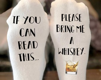If you can read this socks bring me whiskey socks | If you can read this socks | funny christmas gift | Stocking Stuffer  | Whiskey Socks