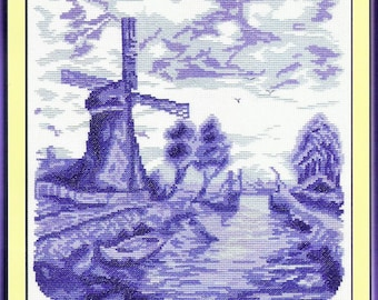 Counted Cross Stitch Kit Windmill and Bridge GT-0237