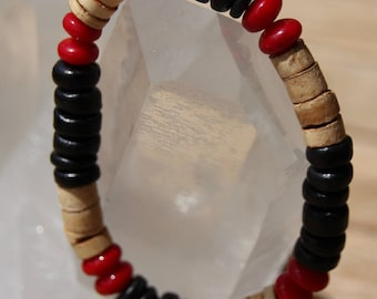 Red coral bracelet with beads and coconut wood