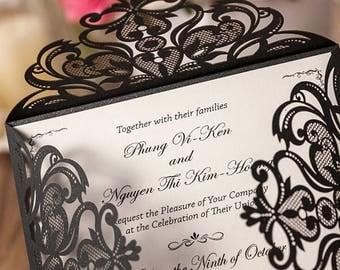 Black Invitations - DIY Invitations - POCKET ONLY - Invitation Paper - Invitation Pockets - Laser Cut Invitation - Invitation Supplies - 50