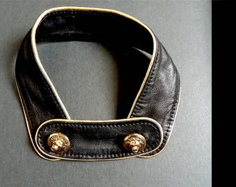 stand-up collar black lamb leather