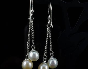 ON SALE Pink & White Cultured Freshwater Double Pearl and Sterling Silver Dangle Earrings