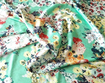"Floral Apparel Fabric, Seafoam Mint Green Silky material for blouse, dress, scarf, 58"" wide by the yard"