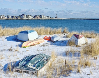 Snowy beach scene, Museum Beach, Scituate, MA, South Shore, dinghys, rowboats, coastal, New England, cottage decor, archival, signed print