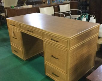 ON HOLD TIL 7/25 :Ca. 1970s Comissioned Desk by Bielecky Bros. wrapped in Rattan with Bamboo  Edges and White Ash top