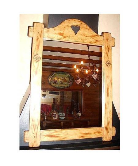 Miroir artisanal cadre bois style chalet deco cocooning cosy for Miroir artisanal