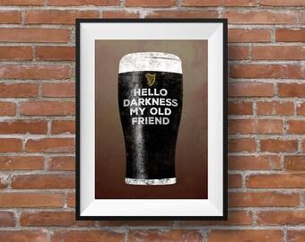 Guinness poster, guinness print, Guinness art, stout lovers print, Guinness lovers, irish art, hello darkness, guinness wall art,