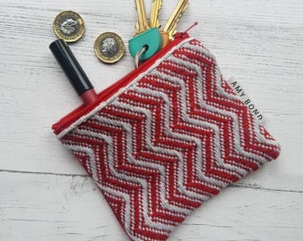 Handwoven Zig Zag Coin Purse, Red, Grey, Deep Red, Small Travel Purse, Small Make Up Bag
