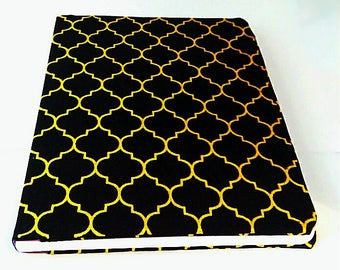 Black and gold book cover, composition book cover, notebook cover, fabric notebook cover