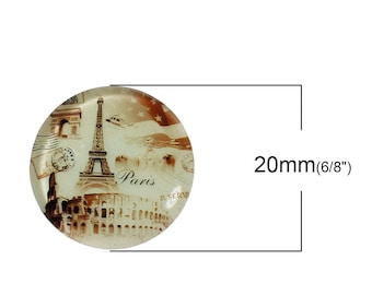 1 cabochon round glass glow 20mm - PARIS-