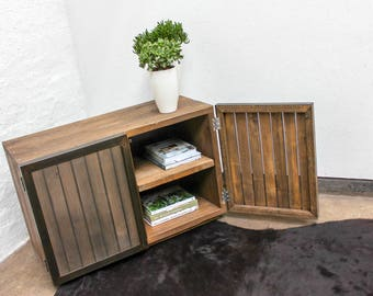 Louisa Reclaimed Scaffolding Board Media Unit with Slatted Wood and Perforated Steel Clad Doors - Bespoke Furniture by www.urbangrain.co.uk