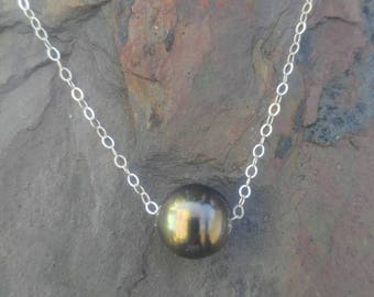 Floating Pistachio Tahitian Pearl Necklace