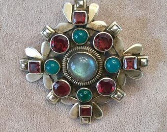 19th Century Renaissance Revival Gemstone Brooch