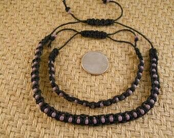 Adjustable Macrame Bracelet And Ankle Bracelet  Seed Bead Black Hemp Cord Bracelet Sliding Macrame Closure