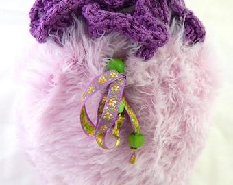 Purple knit pouch