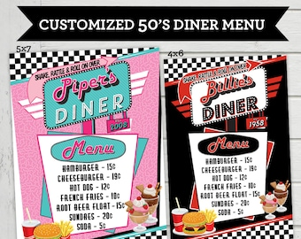 50's Diner Menu Cards Vintage Diner Food List Card Retro Birthday Party 1950's Diner Fiftes Customized Digital File Supplied