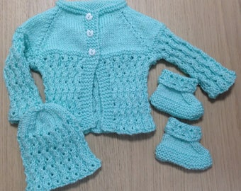 Cardigan with matching Beanie and booties