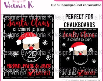Santa Chalkboard, Christmas Claus svg, Christmas Countdown, Nice List, Cut File, SVG, DXF Cut Files, Cricut Design Space, Vinyl Cut Files