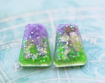 Under the Sea Mermaid Inspired Pinup Earrings - Little Mermaid Ariel Earrings - Retro Earrings - One of a Kind Sparkle Disney Earrings