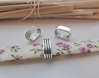 4 beads for 10 x 7 mm - silver - 61.19 cord