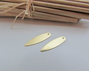 10 charms leaves gold metal - 21 x 5 mm - hole 1 mm - ref 118.18