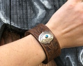 Leather Bracelet Cuff Authentic Navajo Turquoise Concho