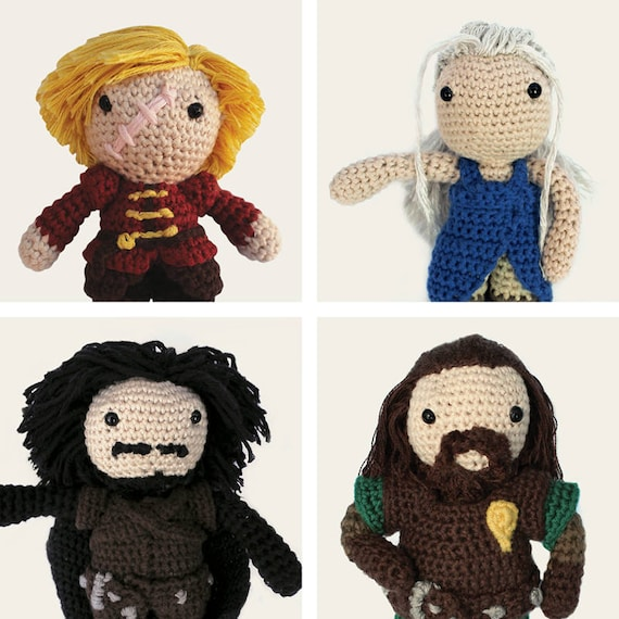 Game of Thrones Pack: Tyrion Lannister, Daenerys, Jon Snow & Ned Stark. Amigurumi Pattern PDF.