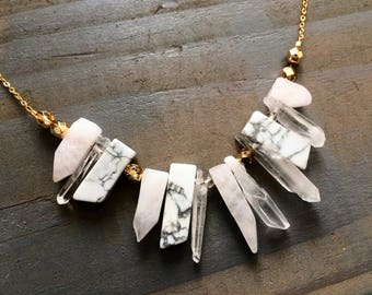 Pink and Marble Statement Necklace / Blush Marble Necklace / Chunky Bib Bold Statement Necklace Under 50 / 14k Gold Fill