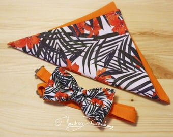 Tropical flowers bow tie and handkerchief