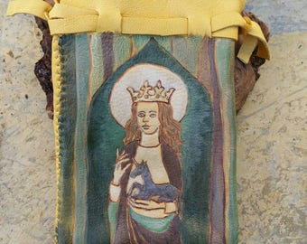 Saint Claire of Assisi Holding a Unicorn Large Leather Pouch
