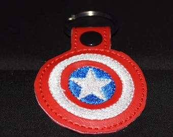 Captain America key fob key chain zipper pull bag tag.
