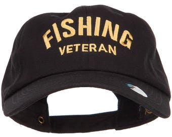 Fishing Veteran Embroidered Unstructured Cap