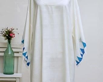 Block Printed Dress | Bamboo White Beach Dress