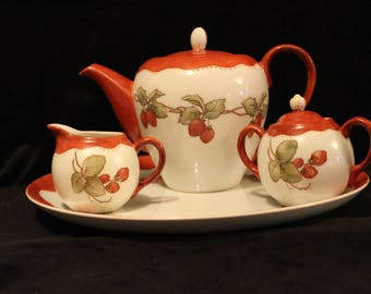 Strawberry Tea Set--Hand Painted