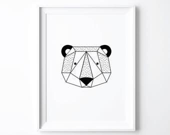 Bear Print, Nursery Decor, Art Prints, Origami Bear, Black White Kids Room, Woodland Nursery, Woodland Baby Shower Gift, Minimalist Wall Art