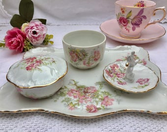 Oh So Pretty Pink Floral Limoges Four Piece Dressing Table Set, Perfect